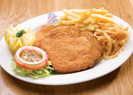Spur Schnitzel. Crumbed beef or chicken breast, topped with cheese or creamy mushroom sauce at Spur Steak Ranches | http://www.spur.co.za/menu/chicken-schnitzel-seafood