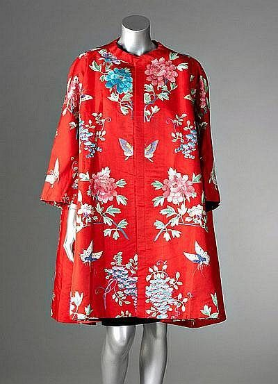 Cristobal  Balenciaga couture Chinese embroidered scarlet silk faille evening coat, 1963  Labelled and numbered 86819, of voluminous cut, an embroidered butterfly meeting at the centre front, deep slanted pockets.