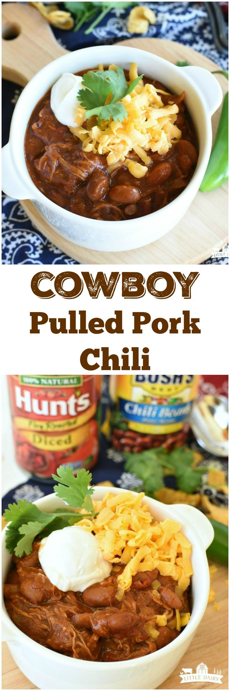 #AD Hillbilly Pulled Pork Chili is a slow cooker chili that's packed with sweet, smoky, and a little bit of spicy flavors!