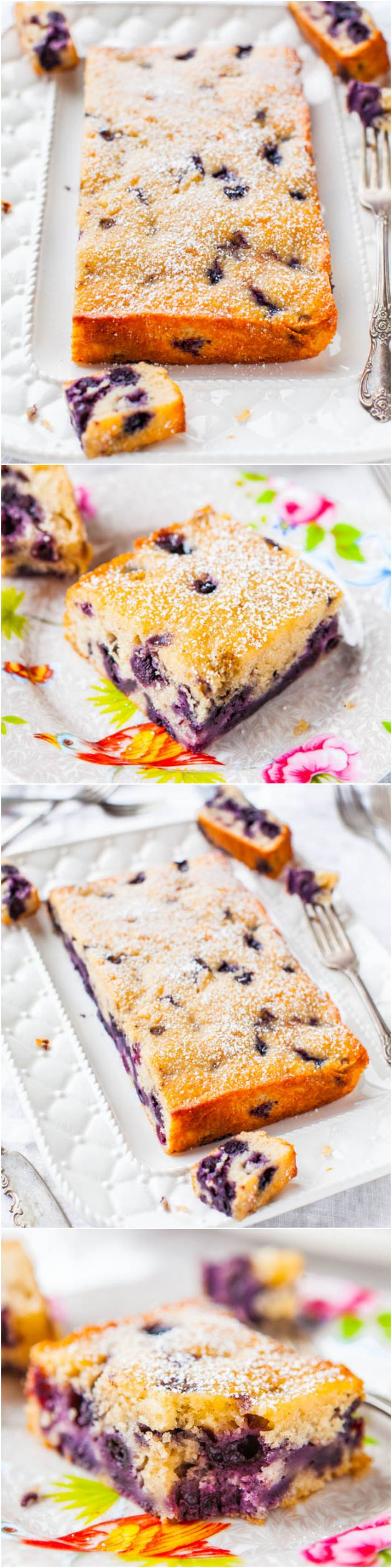Blueberry Muffin and Buttermilk Pancakes Cake - Soft, fluffy & tastes like a big buttermilk pancake that ran into a blueberry muffin on the way to the oven! Easy, one-bowl, no-mixer recipe!