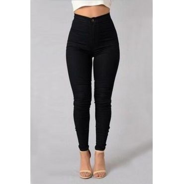USD10.49 Trendy High Waist Black Denim Pants