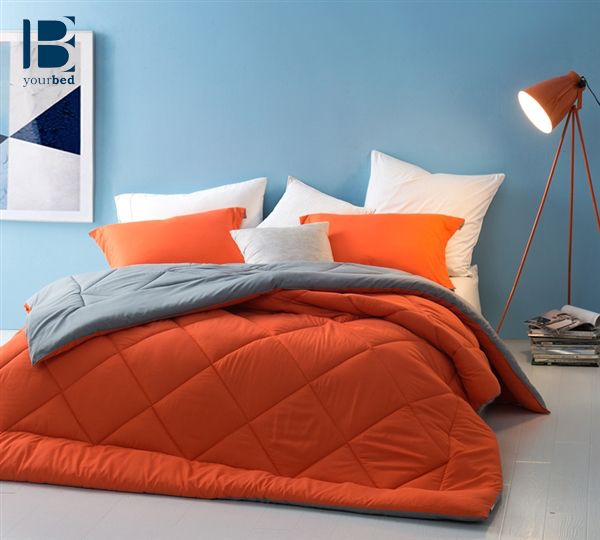 #Versatility with a #Pop of color is what this oversized comforter is all about. A bright #Orange on one side of this microfiber comforter and a soft #Gray on the other side makes this the #Best_Comforter choice when you love to change up #Bedroom_Decor frequently.  #BYB #Reversible #Byourbed #Orange_Bedding #Gray_Bedding #Orange_Decor #Gray_Decor #Orange_Bedding #Best_Bedding #Guys_Comforter #Girls_Comforter #New_Bedding #2017_Comforters
