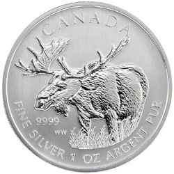 Moose coin, from the Canadian Mint, via Canadian Design Resource.