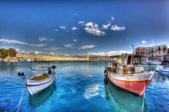 Der Hafen von Rethymno auf Kreta.