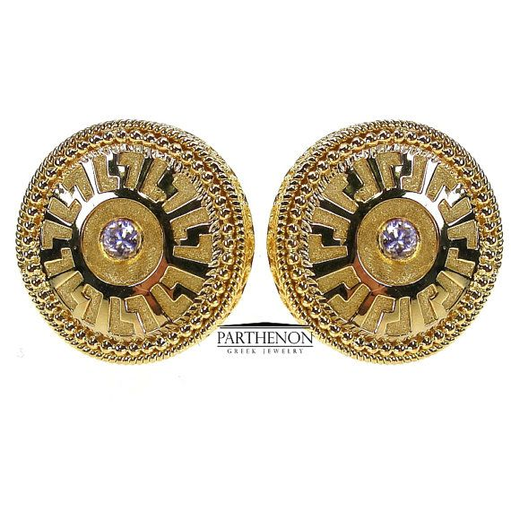 Gold Meander Round Earrings Sapphire by ParthenonGreekJewels