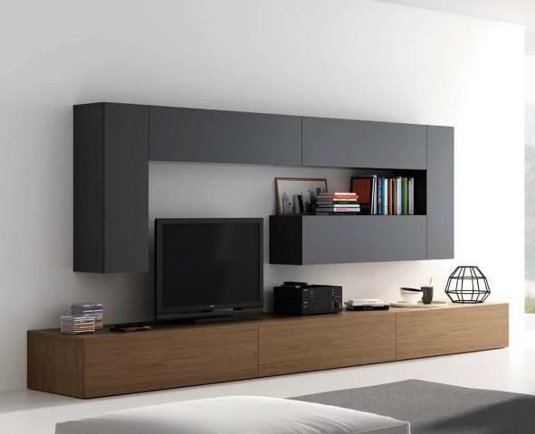 Mueble de Salón negro y madera oscura - Zb muebles Zaragoza