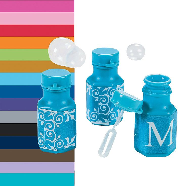 Monogrammed Bubble Bottles Give guests a fun wedding reception favor they can enjoy on your special day. Monogrammed Wedding Bubble Bottles are great keepsakes that bear your initial among a striking scroll design. Choose the perfect color to coordinate with your wedding party theme and shower the couple with bubbles!