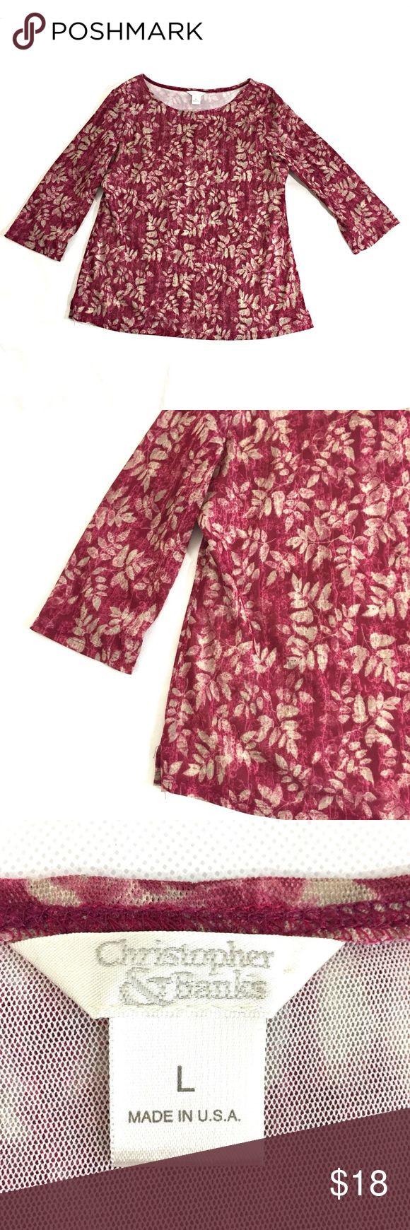 "Christopher & Banks Top Size L 3/4 Sleeve Christopher & Banks Women's Top Size L  3/4 Sleeve  Leaf Print On Plum  Lined   Sheer Sleeves Side Splits 100% Polyester Length: 23.75""   Armpit to armpit: 19.25"" Christopher & Banks Tops Blouses"