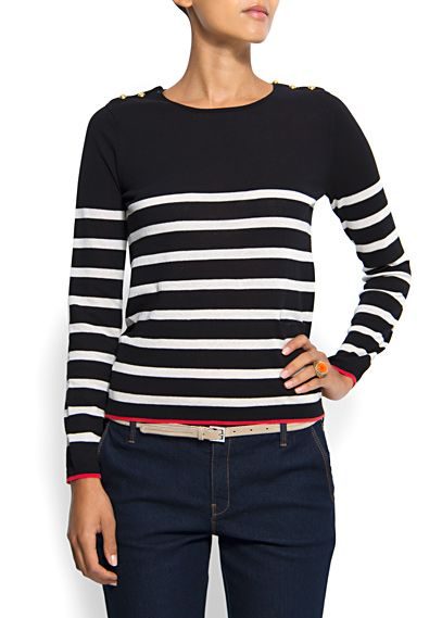 Mango   Knit jumper €24.99   ref. 63210050 - Tuiny Sailor knit jumper with round neck, long sleeves, button closure on the shoulders and color trim in cuffs and hem.