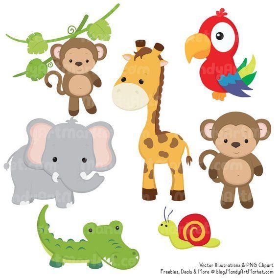 Cute Jungle Animal Clipart Cute Safari Clipart Jungle Etsy Jungle Animals Animal Clipart Safari Animals