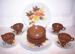 RARE Texas Ware Melmac Melamine Plates Cups Leaf Pattern Brown Dinnerware Set