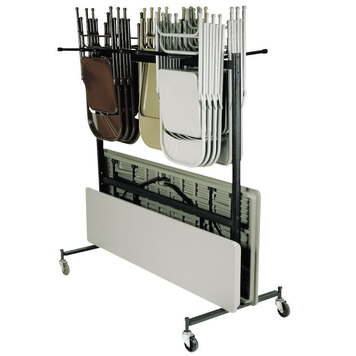 Folding Chair And Table Storage Rack