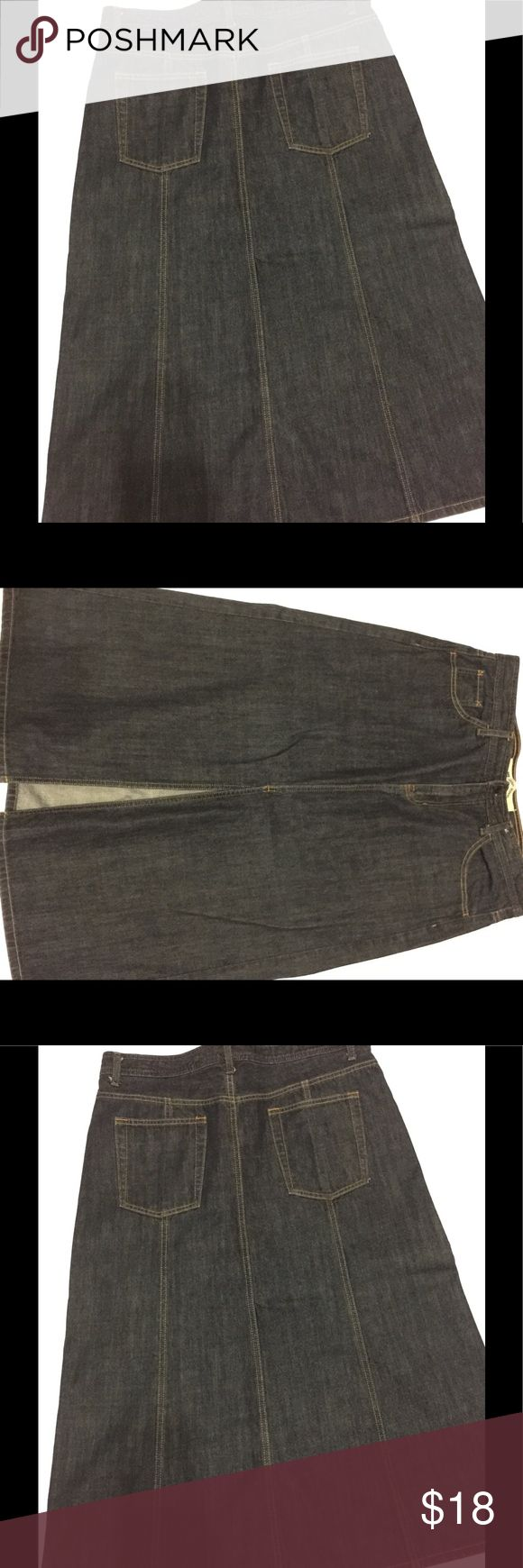 🦋GAP 🦋long Jean skirt Long jean skirt with a split down the front center. 100% cotton 🦋BLUE DENIM🦋picture that looks black is just to show the back of the skirt🦋 Skirts A-Line or Full