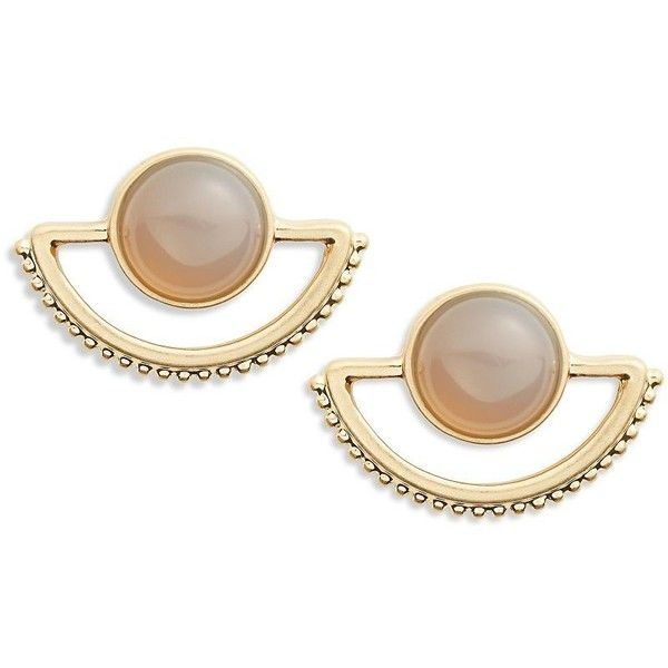 T&C Theodora & Callum Embellished Fan Button Earrings ($20) ❤ liked on Polyvore featuring jewelry, earrings, accessories, gold, beading jewelry, gold tone jewelry, beaded jewelry, bead jewellery and beaded earrings