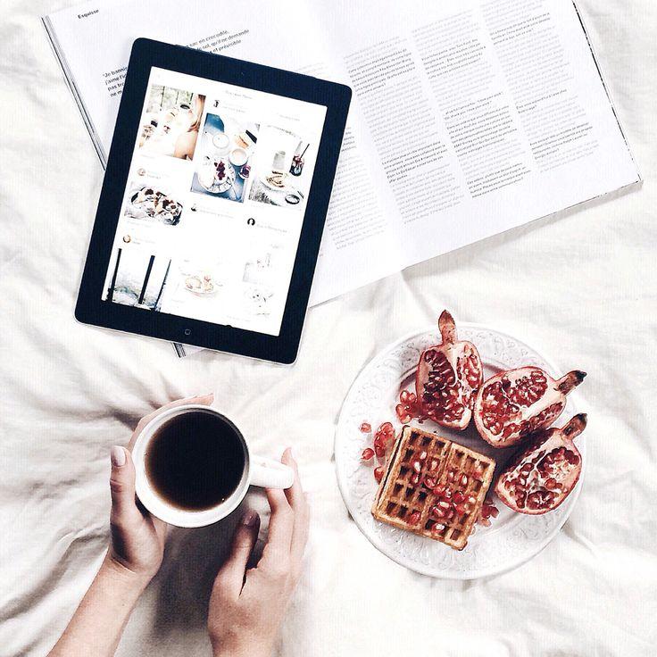 Coffee morning waffles pomegranate, breakfast @anyaklyueva