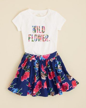 kate spade new york Girls' Wildflower Tee and Floral Coreen Skirt - Sizes 7-14 | Bloomingdale's