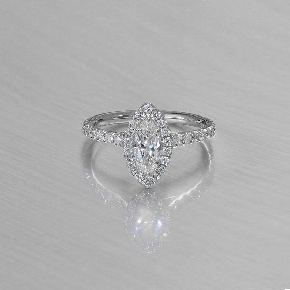 14K White Gold .51 ct. Marquise Halo Diamond Engagement Ring