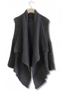 Knitted Grey Open Cardigan with Watefall Drape