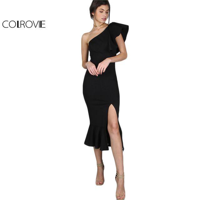 COLROVIE Black Party Dress 2017 Женщин Одно Плечо Жабо Баски Подол Сексуальная Элегантный Летние Платья Тонкий Рябить Сплит Bodycon Dress