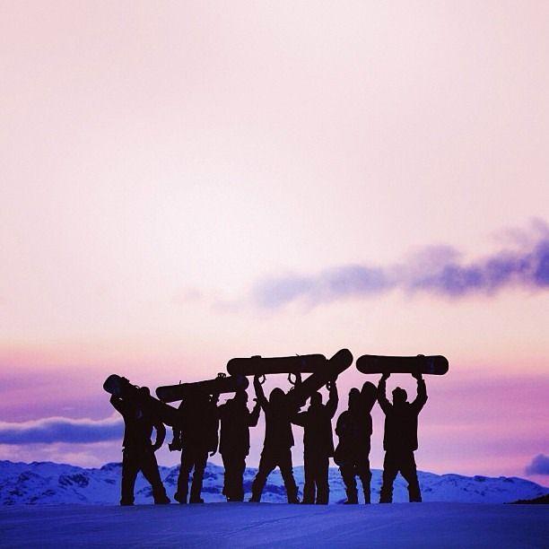 sunset snowboarding crew