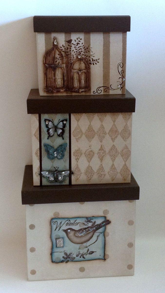 Trio de caixa em mdf - Pássaro e afins | Atelier Marcia Campos | Elo7
