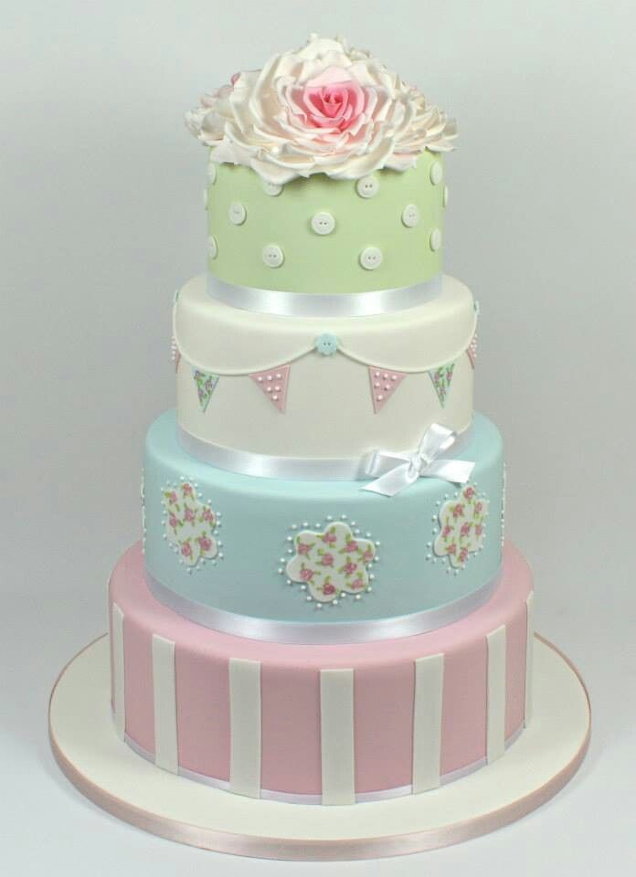 shabby chic bridal shower cakes%0A Inspired by Cath Kidston Wedding Cake