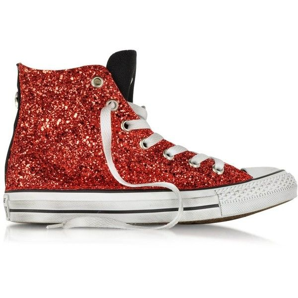 Converse Limited Edition Shoes All Star Hi Black Canvas w/Red Glitter... ($210) ❤ liked on Polyvore