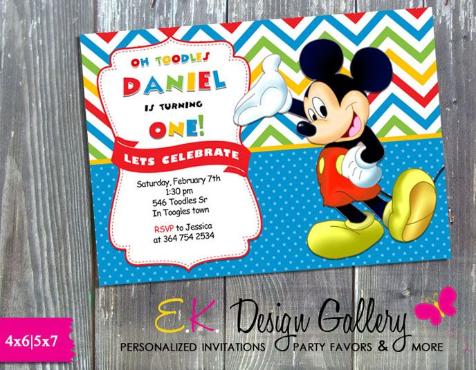 99 best birthday invitations images on pinterest birthday mickey mouse birthday party invitation printed filmwisefo Image collections