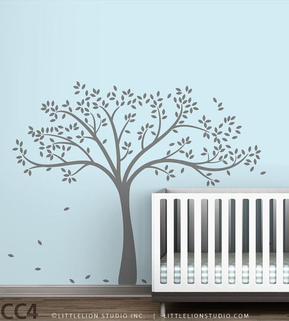 Fall Tree Wall Decal White Tree Decal On Blue By LeoLittleLion