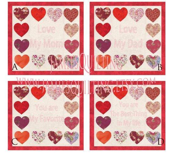 Love My Family Hearts Personalized Handmade by JamiesQuilting, $75.00