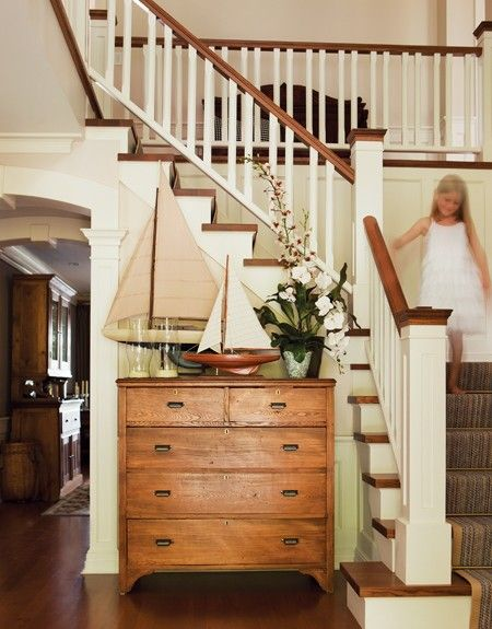 entry wayIdeas, Sailboats, Cottages House, Dressers, Front Entry, Staircas, Entryway, Wood House, Country Homes