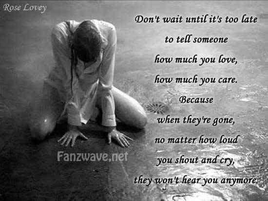 Don't wait until it's too late to tell someone how much you love, how much  you care. Because when they're gone, no matter how loud you shout and cry,  ...