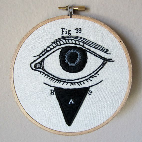 Vintage medical anatomy eye illustration, eyeball embroidery hoop art, hand embroidered macabre optical drawing, 5 inch hoop, wall art