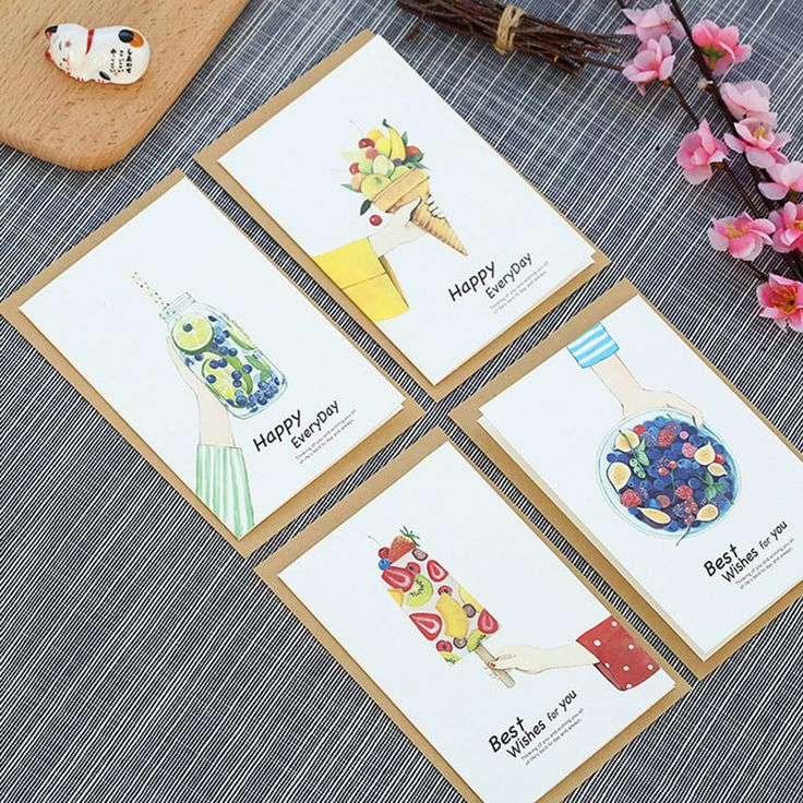 4 pcs/lot Sweet Ice cream Christmas New Year message card with envelope wedding birthday blessing greeting card Kawaii Gift card