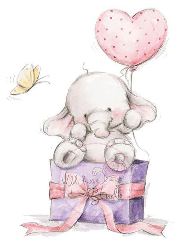 Elephant Bela Heart Balloon Unmounted Rubber Stamp Wild Rose Studio # CL228 New #WildRoseStudio #Unmounted