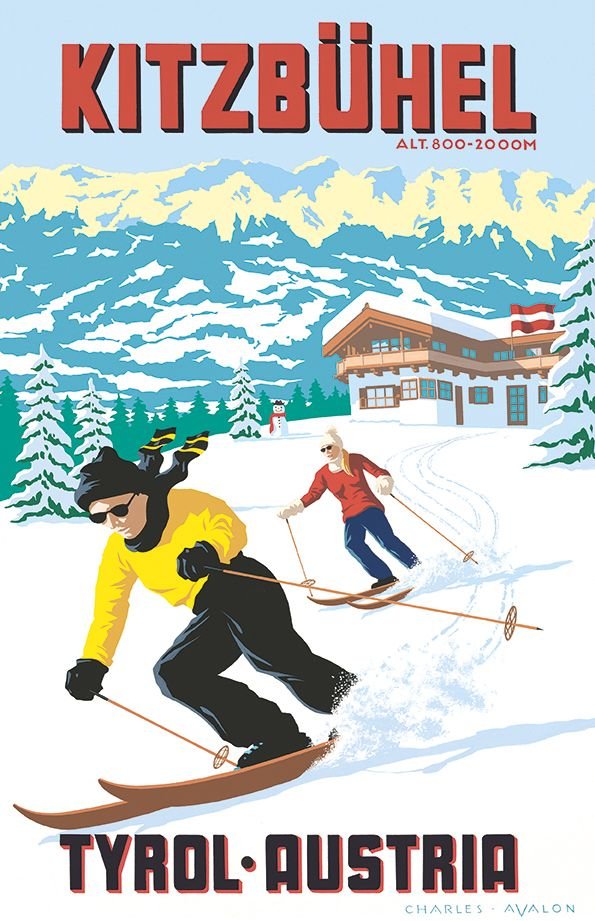 PEL134: [NEW] 'Kitzbuhel: Ski-in, Ski-out' - by Charles Avalon - Vintage travel posters - Winter Sports posters - Art Deco - Austria -Pullman Editions