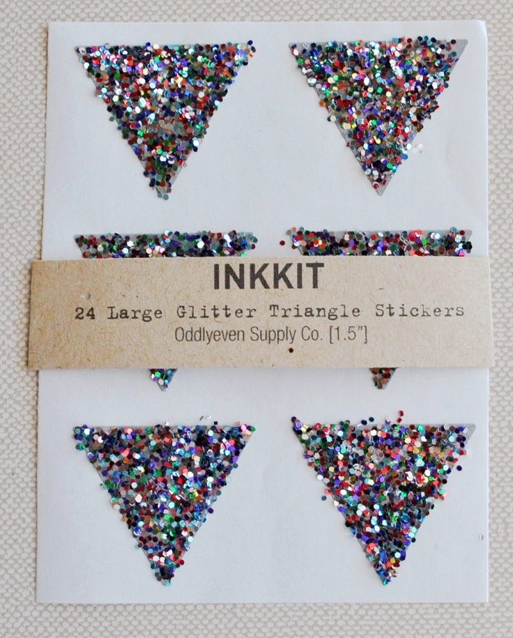 colorful glitter large triangle stickers  (24 stickers). $6.00, via Etsy.