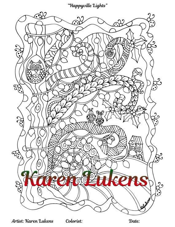 christmas happy lights 1 adult coloring book page snowman christmas karen