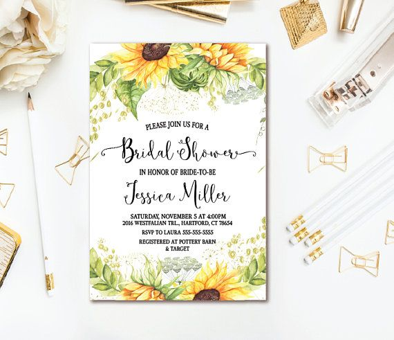 sunflower bridal shower invitation country rustic wedding shower printable invite