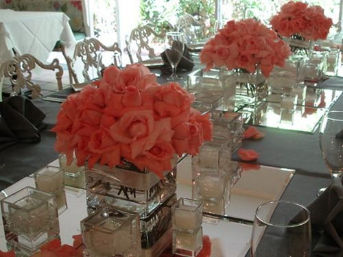 Square vases with a mound of roses... Simple beauty