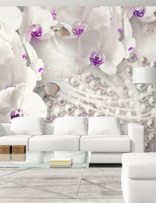 Carta da Parati Orchidea con Pistillo Viola Carta da Parati Fotomurale a Tema Natura e Fiori