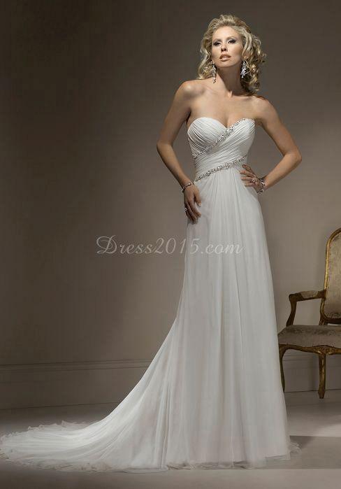 Sheath Chiffon Crystals Long Wedding Dress picture 1