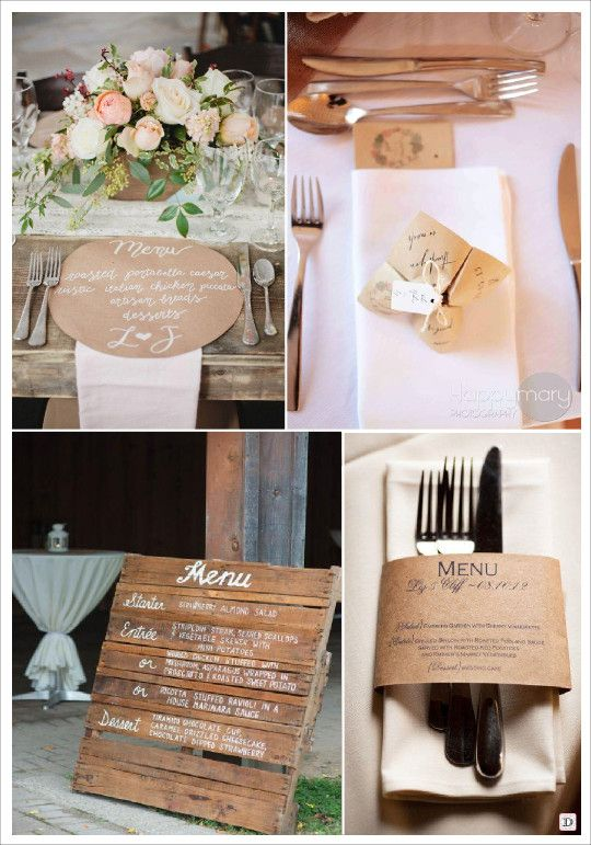 mariage rustique champêtre menu sur set de table kraft cocotte en papier gravure sur planche de bois rond de serviette