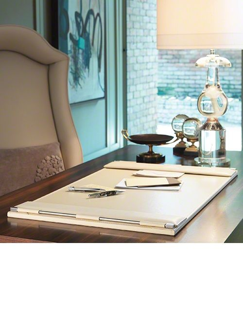 Desk Accessories, Luxury Designer Executive Ivory Leather Desk Pad of InStyle Decor Beverly Hills,.
