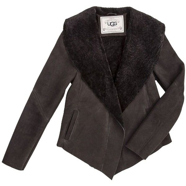 Pre-owned Ugg Australia Nettafay Draped Shawl Shearling Fur Coat ($800) ❤ liked on Polyvore featuring outerwear, coats, black, shawl collar swing coat, black fur coat, black fur shawl, black shawl and fur shawl