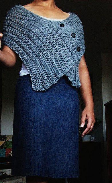Buttoned crochet capelet