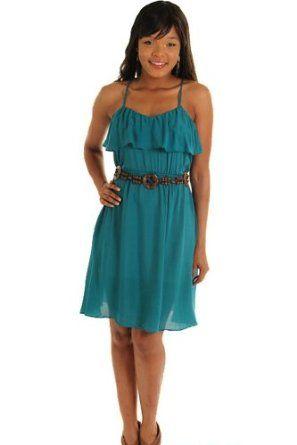 DHStyles Women's Boho Chic Sheer Summer Dress with Belt