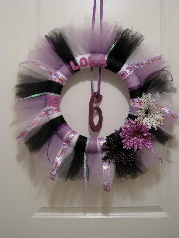 Personalized Tutu Birthday Wreath.