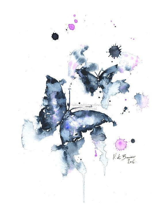 Black Butterflies – Watercolor illustration print