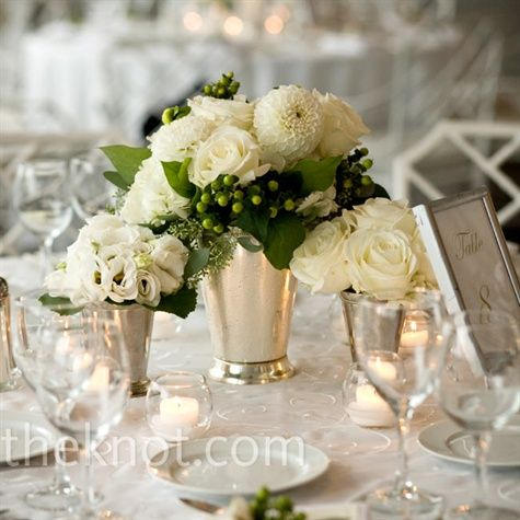 silver vase or julep cup, white and green